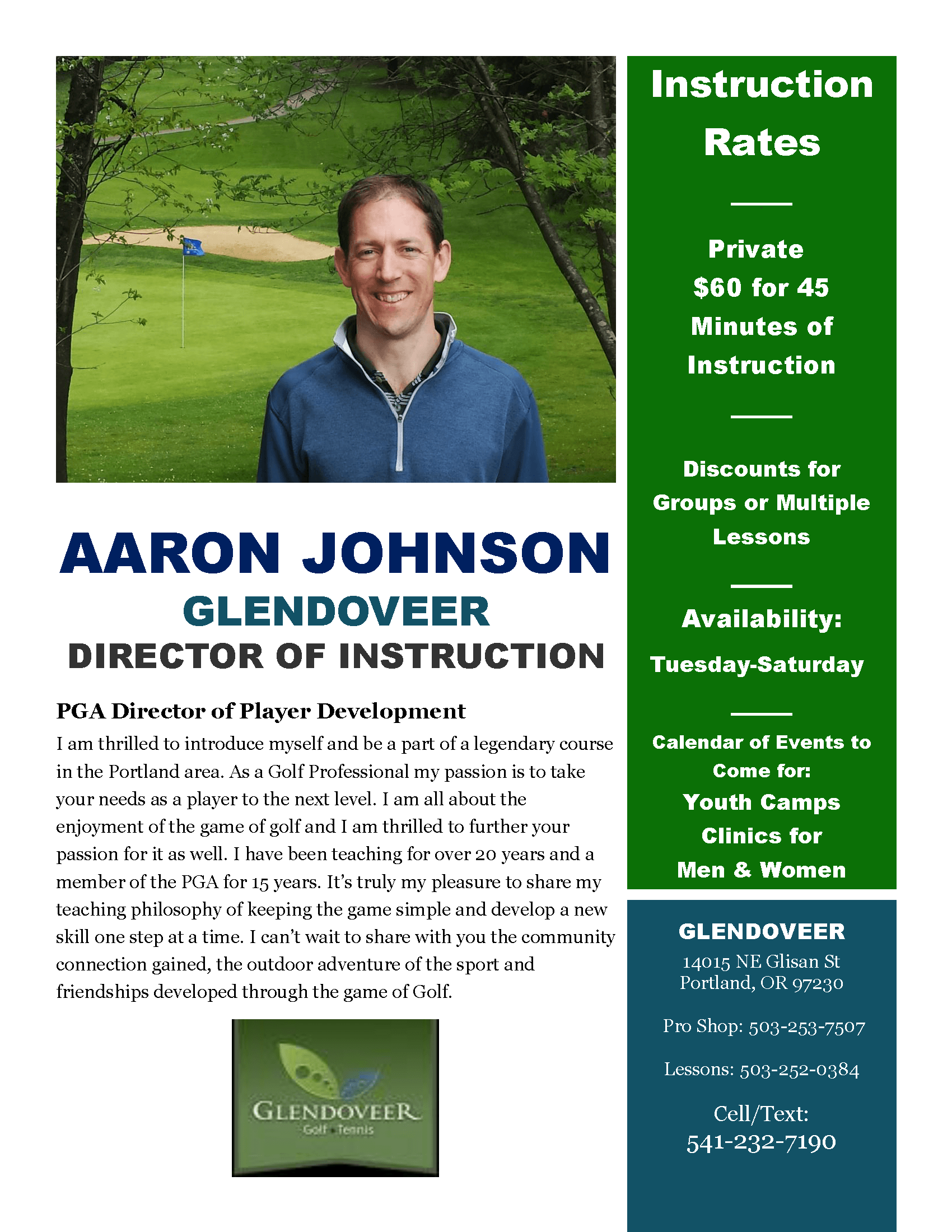 Aaron Johnson Glendoveer Flyer 2015