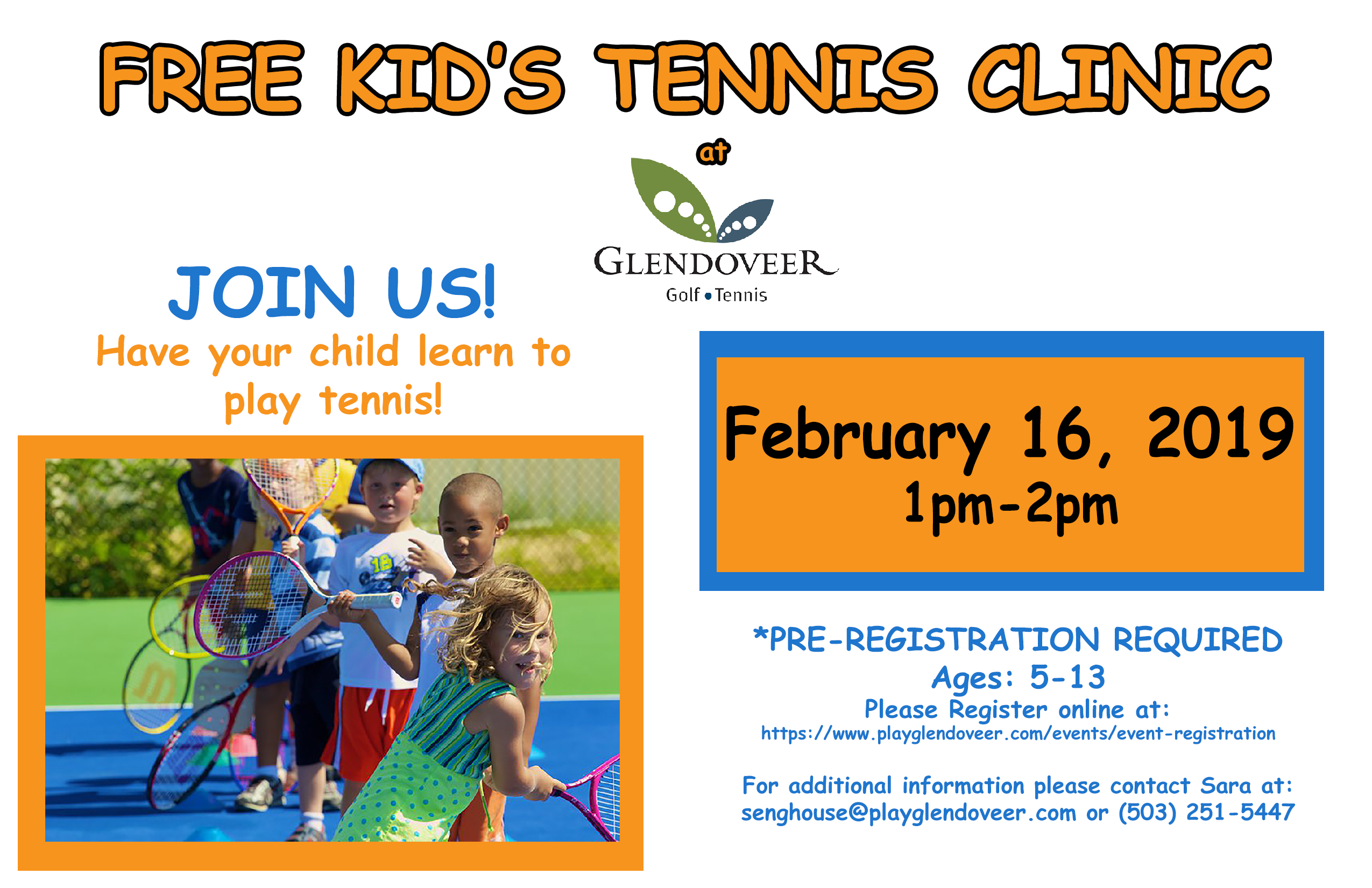 Free Kid's Tennis Clinic